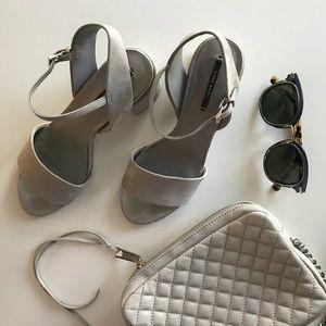Zara gray suede chunky heel sandals